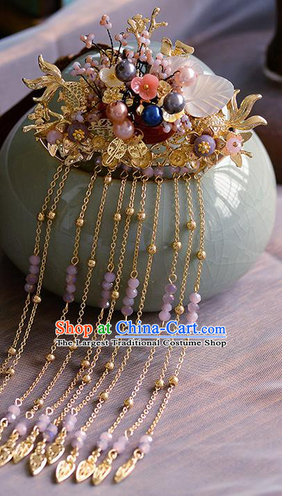Traditional Chinese Ancient Palace Tassel Goldfish Hair Crown Hairpins Handmade Wedding Hair Accessories for Women