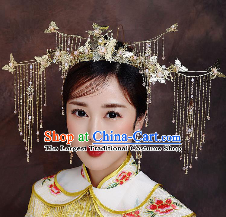 Traditional Chinese Ancient Bride Hairpins Butterfly Tassel Phoenix Coronet Handmade Wedding Hair Accessories for Women