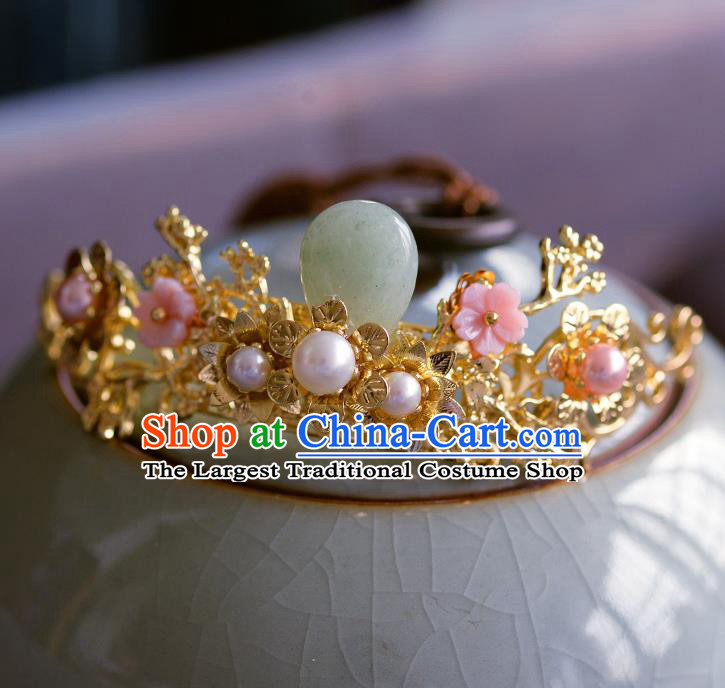Traditional Chinese Ancient Palace Hair Crown Jade Hairpins Handmade Wedding Hair Accessories for Women