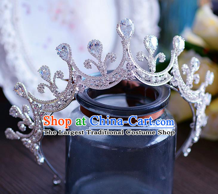 Handmade European Wedding Hair Accessories Baroque Queen Crystal Royal Crown for Women
