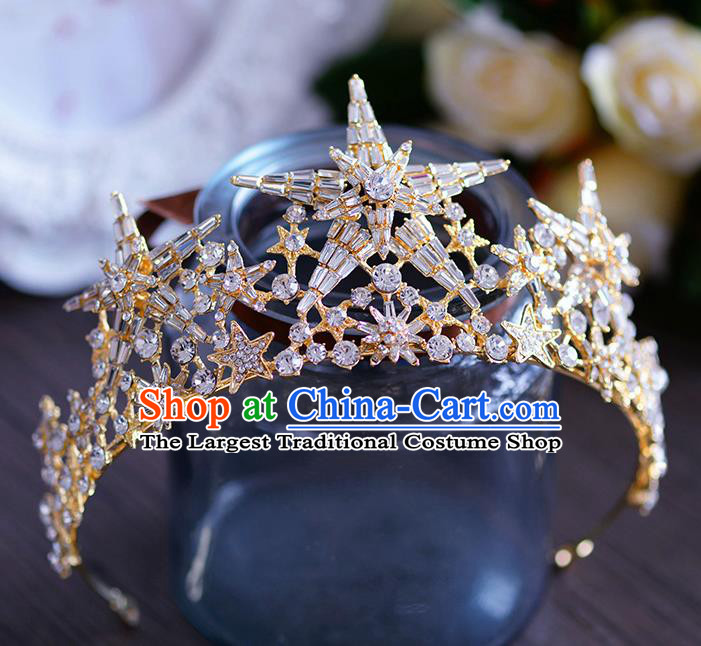 Handmade European Wedding Hair Accessories Baroque Queen Beads Star Royal Crown for Women