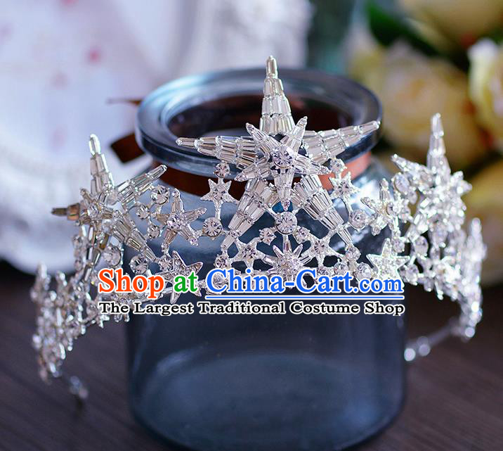 Handmade European Wedding Hair Accessories Baroque Queen Star Royal Crown for Women