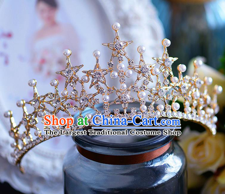 Handmade European Wedding Hair Accessories Baroque Queen Golden Royal Crown for Women