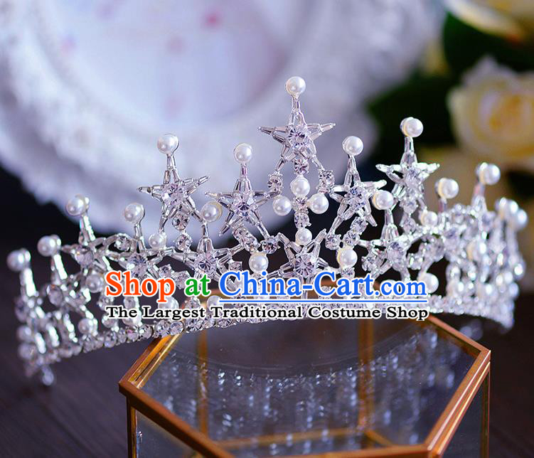 Handmade Baroque Queen Crystal Royal Crown European Wedding Hair Accessories for Women