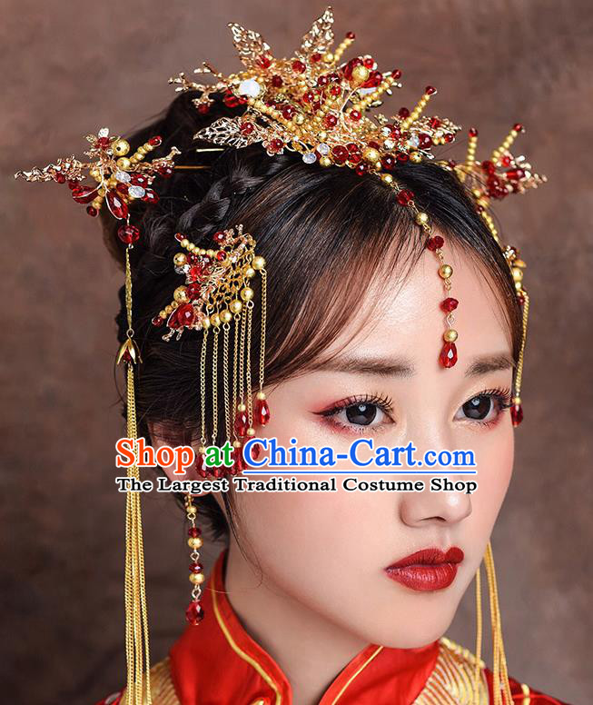 Traditional Chinese Ancient Bride Hairpins Hair Comb Handmade Wedding Hair Accessories for Women