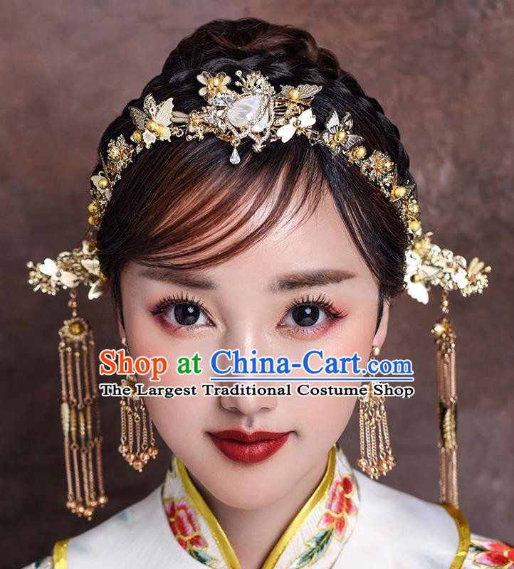 Traditional Chinese Ancient Bride Hairpins Tassel Shell Butterfly Hair Clasp Handmade Wedding Hair Accessories for Women