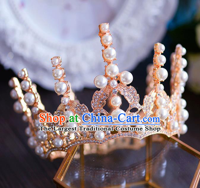 Handmade Baroque Queen Golden Round Royal Crown European Wedding Hair Accessories for Women