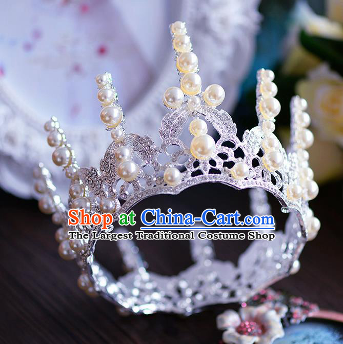 Handmade Baroque Queen Round Royal Crown European Wedding Hair Accessories for Women