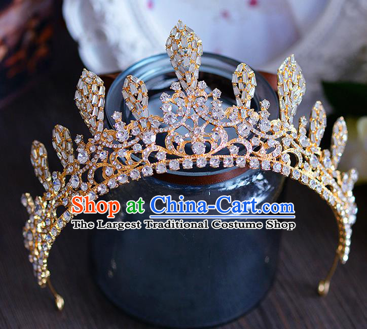 Handmade Baroque Queen Crystal Beads Royal Crown European Wedding Hair Accessories for Women