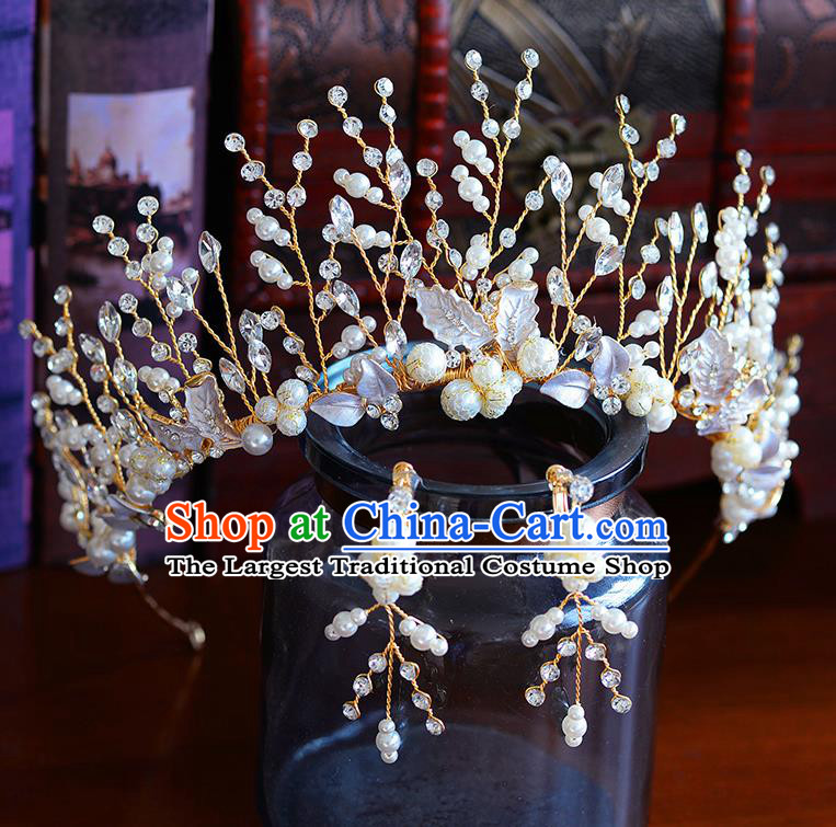 Handmade Baroque Bride Royal Crown European Queen Wedding Hair Accessories for Women