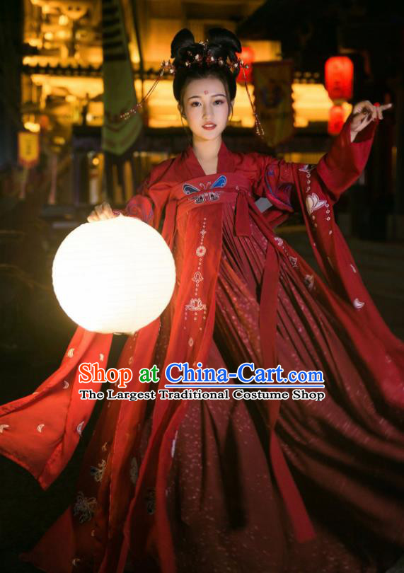 Ancient Chinese Tang Dynasty Imperial Consort Historical Costume Traditional Wedding Red Hanfu Dress for Women