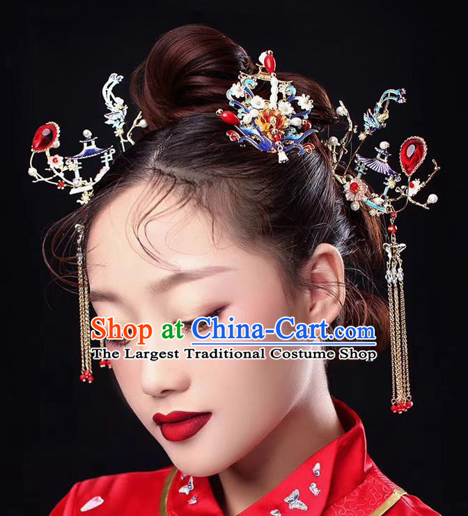 Traditional Chinese Ancient Cloisonne Phoenix Hair Crown Bride Hairpins Handmade Wedding Hair Accessories for Women
