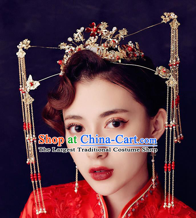 Traditional Chinese Ancient Hanfu Tassel Phoenix Coronet Bride Hairpins Handmade Wedding Hair Accessories for Women