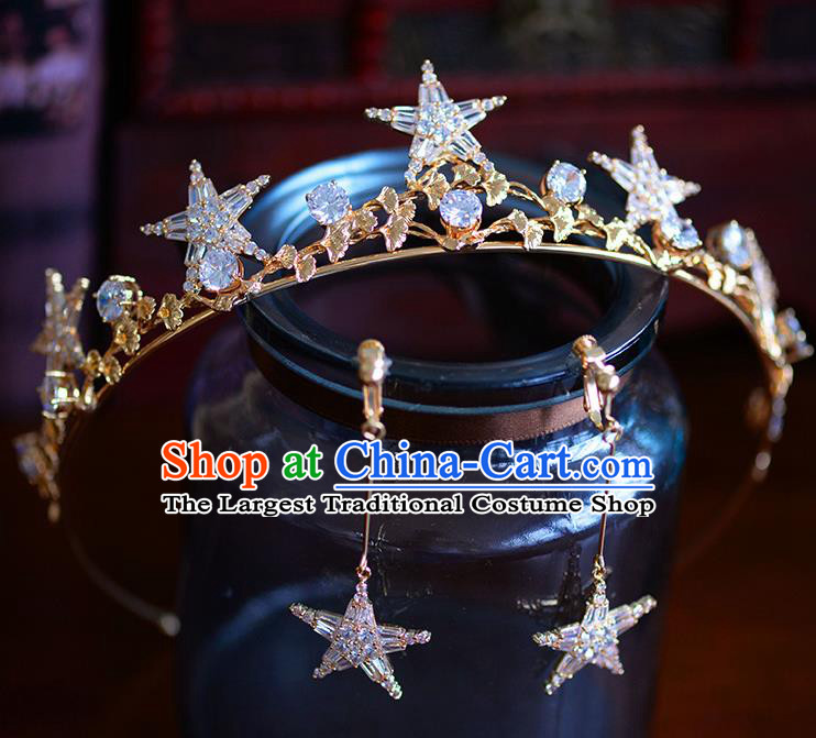 Handmade Baroque Bride Beads Star Royal Crown European Queen Wedding Hair Accessories for Women