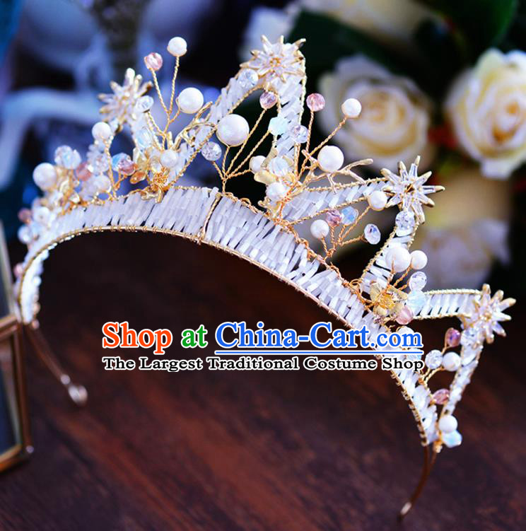 Handmade Baroque Bride Golden Beads Royal Crown European Queen Wedding Hair Accessories for Women