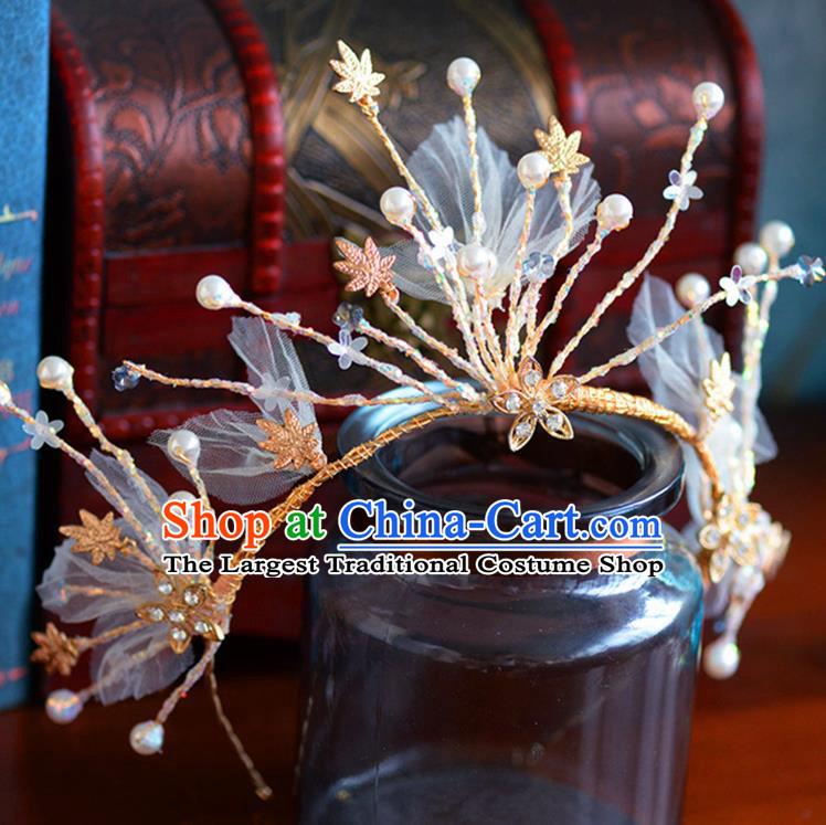 Handmade Baroque Bride Silk Flowers Royal Crown European Queen Wedding Hair Accessories for Women
