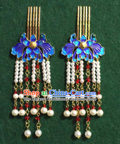 Traditional Chinese Ancient Palace Cloisonne Lotus Hair Clip Tassel Hairpins Handmade Wedding Hair Accessories for Women