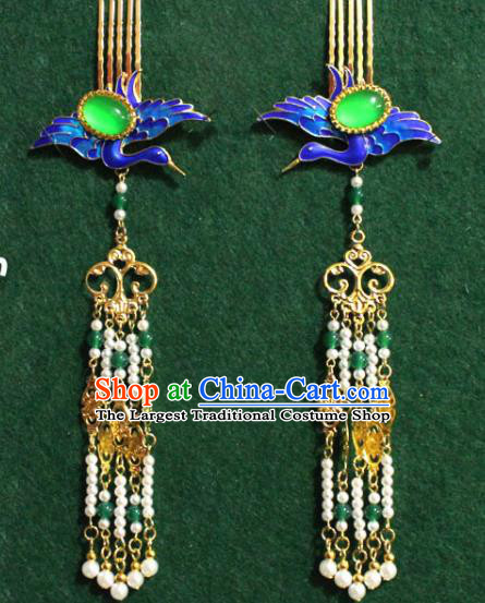 Traditional Chinese Ancient Palace Cloisonne Crane Hair Comb Tassel Hairpins Handmade Wedding Hair Accessories for Women