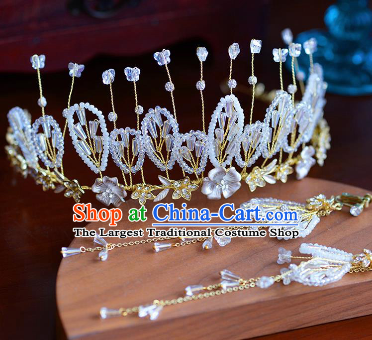 Handmade Baroque Bride Beads Royal Crown European Queen Wedding Hair Accessories for Women