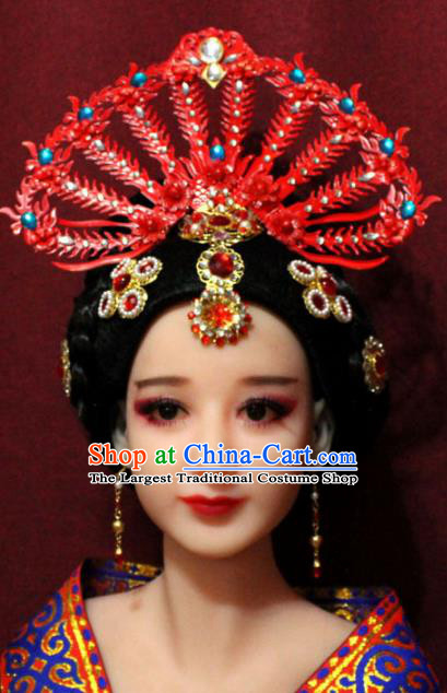 Traditional Chinese Ancient Hanfu Red Phoenix Coronet Bride Hairpins Handmade Wedding Hair Accessories for Women