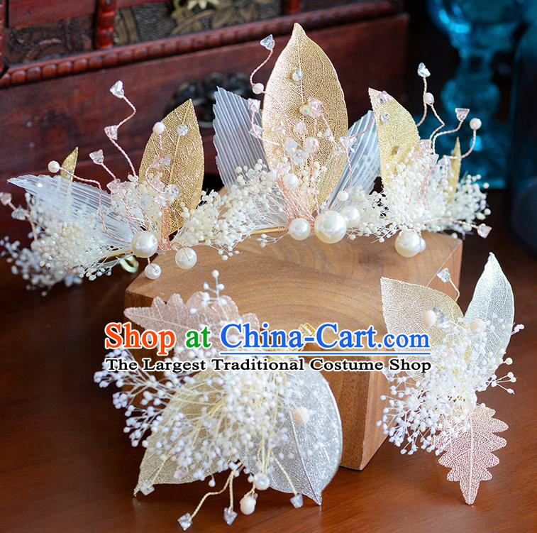 Handmade Baroque Bride Golden Leaf Royal Crown European Queen Wedding Hair Accessories for Women
