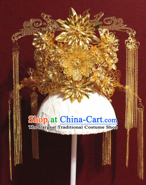 Traditional Chinese Ancient Queen Hanfu Golden Phoenix Coronet Bride Hairpins Handmade Wedding Hair Accessories for Women
