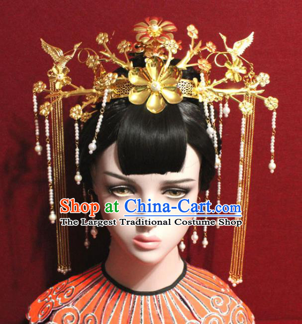 Traditional Chinese Ancient Queen Hanfu Golden Flowers Phoenix Coronet Bride Hairpins Handmade Wedding Hair Accessories for Women