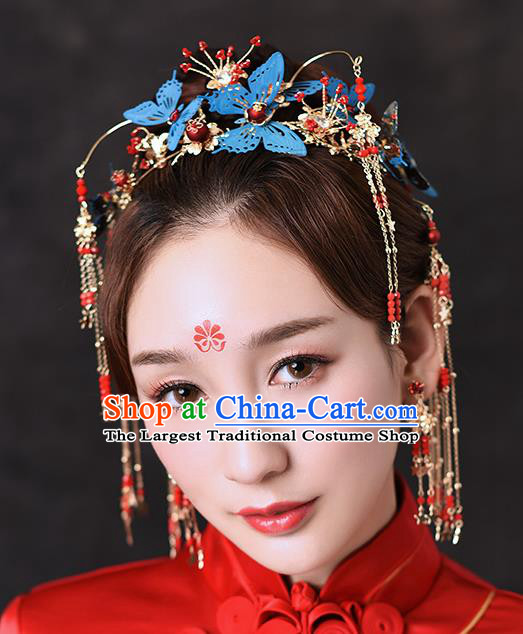Traditional Chinese Ancient Hanfu Blue Butterfly Hair Crown Bride Hairpins Handmade Wedding Hair Accessories for Women