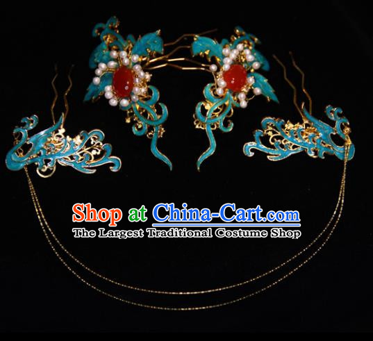 Traditional Chinese Ancient Qing Dynasty Blueing Hairpins Handmade Wedding Hair Accessories for Women
