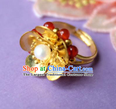 Traditional Chinese Ancient Princess Wedding Golden Flower Ring Handmade Hanfu Jewelry Accessories for Women