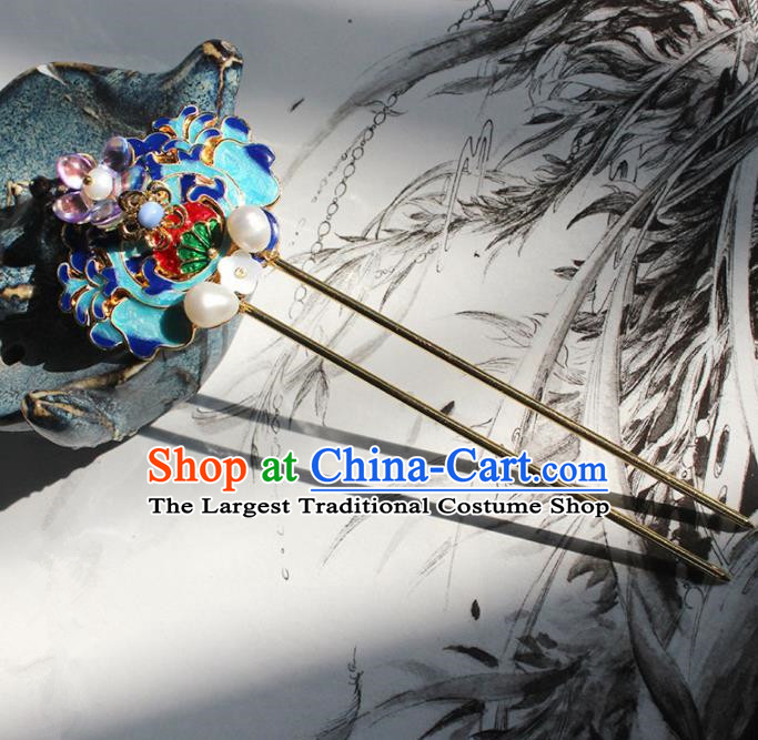 Traditional Chinese Ancient Hanfu Cloisonne Hair Clip Princess Hairpins Handmade Hair Accessories for Women