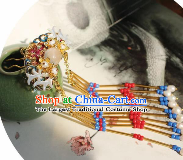 Chinese Ancient Hanfu Tassel Hair Crown Princess Rosy Cloisonne Hairpins Traditional Handmade Hair Accessories for Women