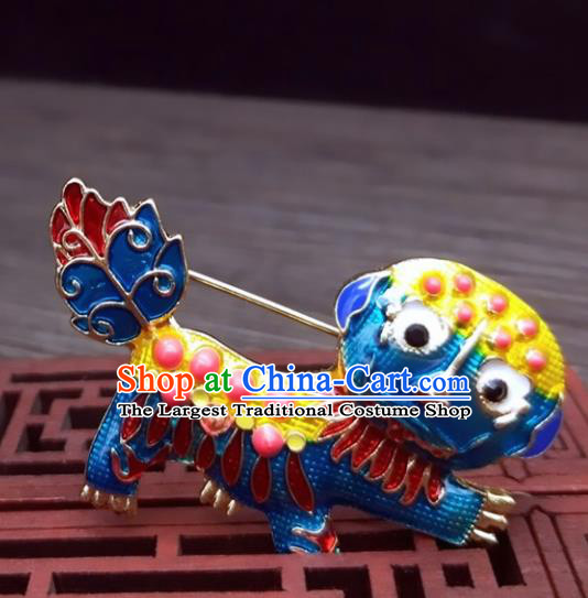 Traditional Chinese Ancient Palace Cloisonne Lion Brooch Handmade Hanfu Breastpin Pendant for Women