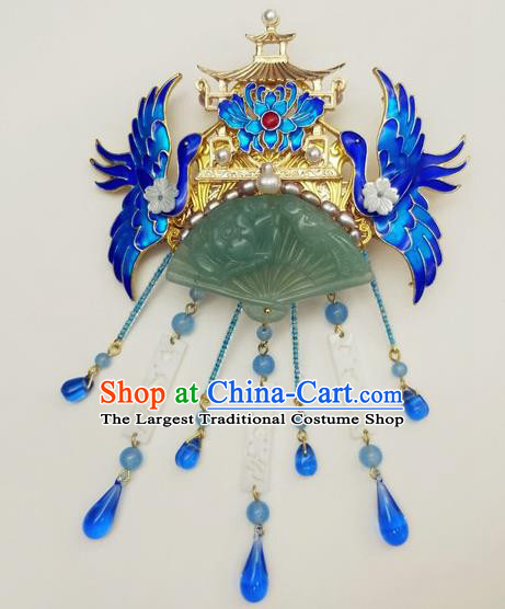 Traditional Chinese Ancient Queen Hanfu Cloisonne Crane Hair Crown Jade Hairpins Handmade Wedding Hair Accessories for Women