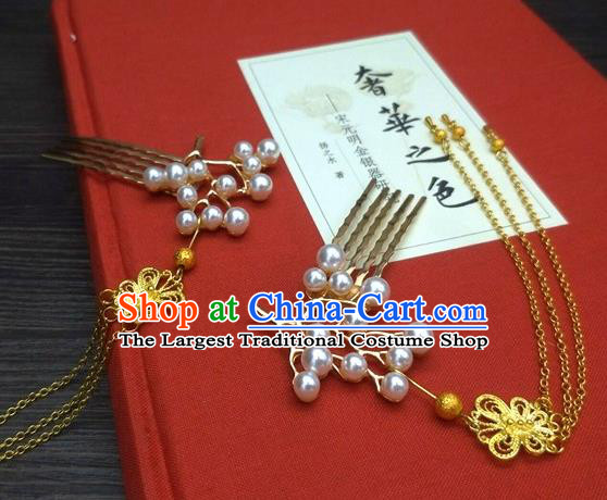 Traditional Chinese Ancient Queen Hanfu Tassel Hair Combs Hairpins Handmade Wedding Hair Accessories for Women