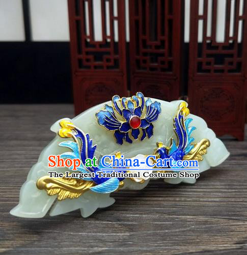 Traditional Chinese Ancient Queen Hanfu Jade Hair Comb Cloisonne Hairpins Handmade Wedding Hair Accessories for Women