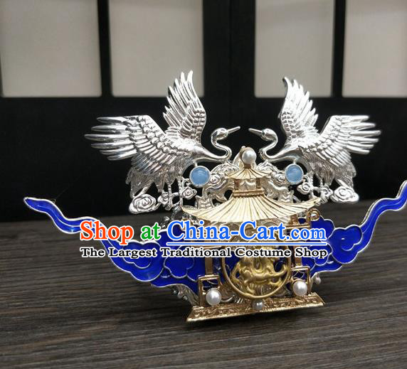 Traditional Chinese Ancient Cloisonne Cloud Crane Hair Crown Hairpins Handmade Hanfu Hair Accessories for Women