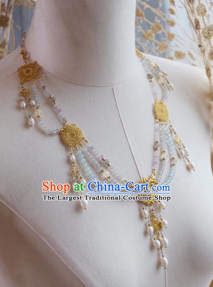 Traditional Chinese Ancient Hanfu Palace Pearls Tassel Necklace Handmade Wedding Jewelry Accessories for Women