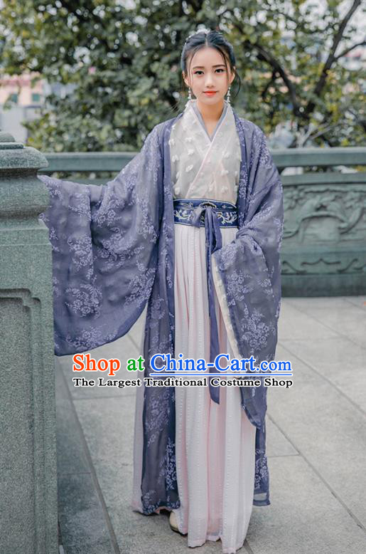 Chinese Jin Dynasty Princess Historical Costume Traditional Ancient Court Lady Embroidered Hanfu Dress for Women