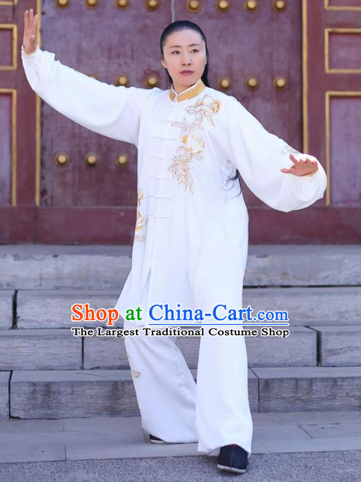 Traditional Chinese Martial Arts Costume Professional Tai Chi Competition Kung Fu Golden Embroidered Uniform for Women