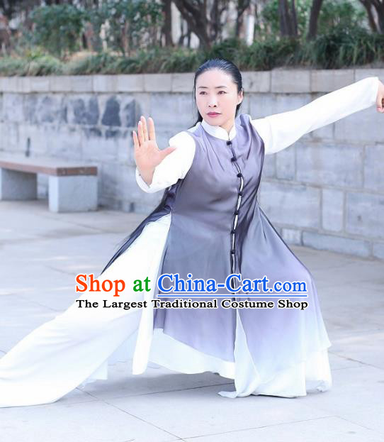 Traditional Chinese Martial Arts Navy Costume Professional Tai Chi Competition Kung Fu Uniform for Women