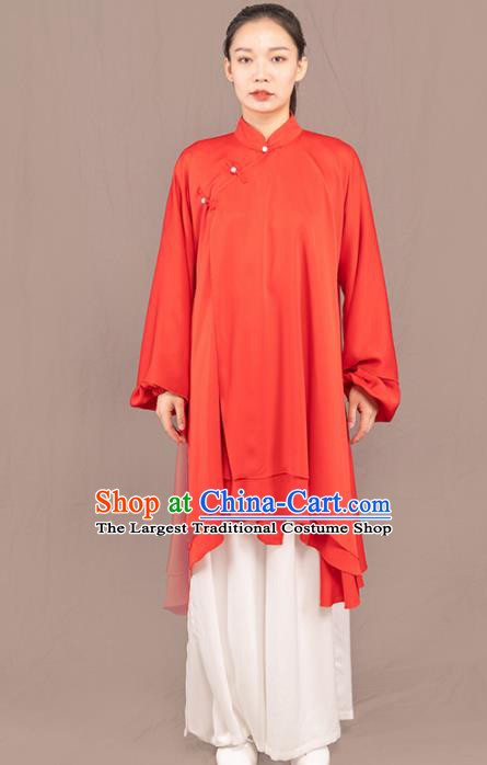 Traditional Chinese Martial Arts Red Costume Professional Tai Chi Competition Kung Fu Uniform for Women