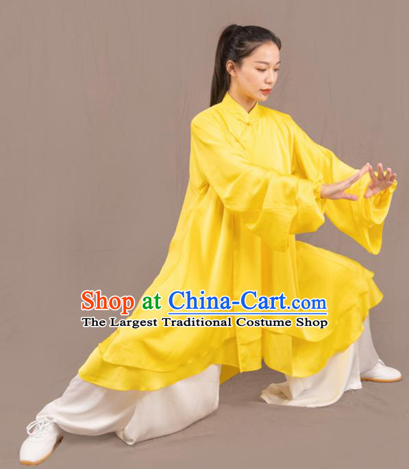 Traditional Chinese Martial Arts Yellow Costume Professional Tai Chi Competition Kung Fu Uniform for Women