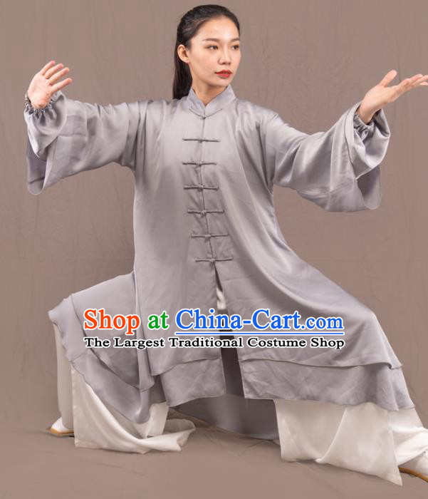 Traditional Chinese Martial Arts Grey Costume Professional Tai Chi Competition Kung Fu Uniform for Women