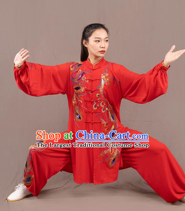 Traditional Chinese Martial Arts Embroidered Phoenix Red Costume Professional Tai Chi Competition Kung Fu Uniform for Women