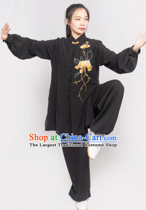 Traditional Chinese Martial Arts Embroidered Lotus Black Costume Professional Tai Chi Competition Kung Fu Uniform for Women