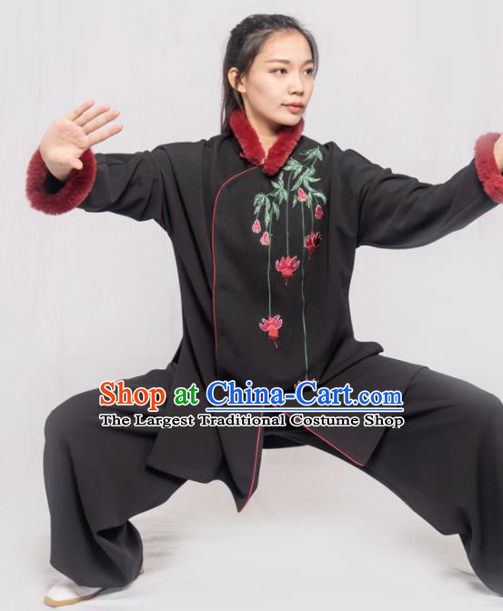 Traditional Chinese Martial Arts Embroidered Winter Black Costume Professional Tai Chi Competition Kung Fu Uniform for Women