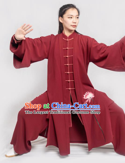 Traditional Chinese Martial Arts Embroidered Lotus Wine Red Costume Professional Tai Chi Competition Kung Fu Uniform for Women