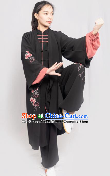 Traditional Chinese Martial Arts Embroidered Peony Black Costume Professional Tai Chi Competition Kung Fu Uniform for Women