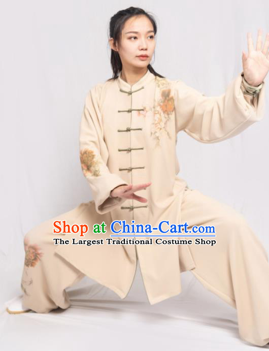 Traditional Chinese Martial Arts Printing Peony Beige Costume Professional Tai Chi Competition Kung Fu Uniform for Women